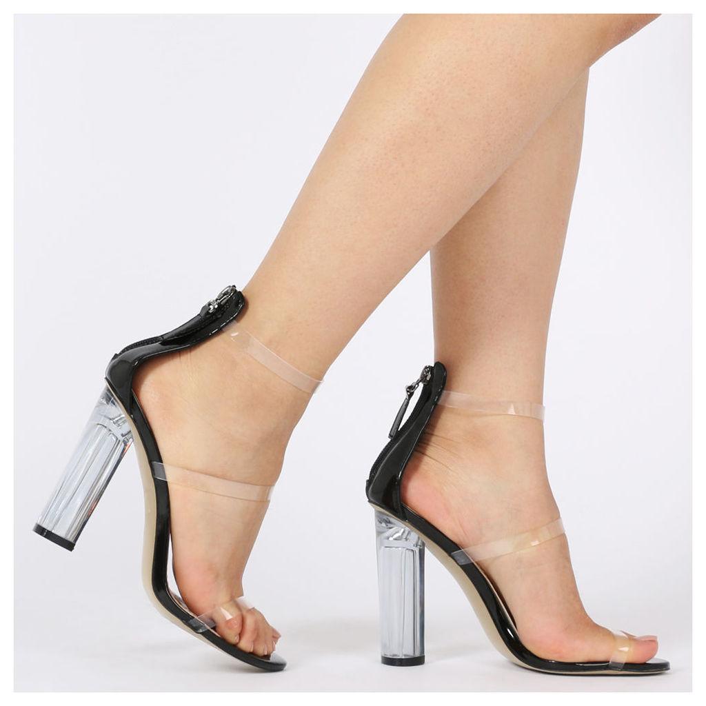 Amari Perspex Strap Heels, Black