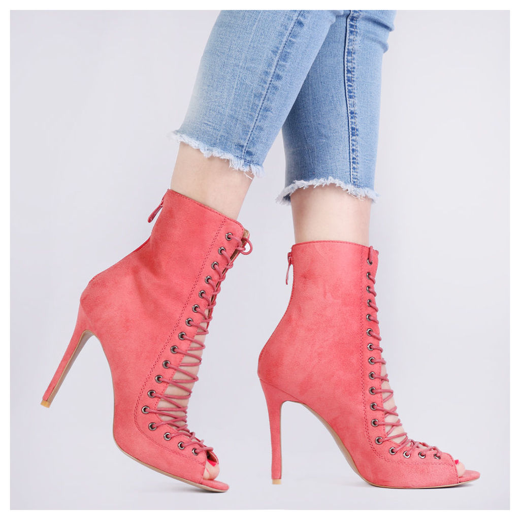 Elsy Lace Up High Heels in Coral Faux Suede, Pink