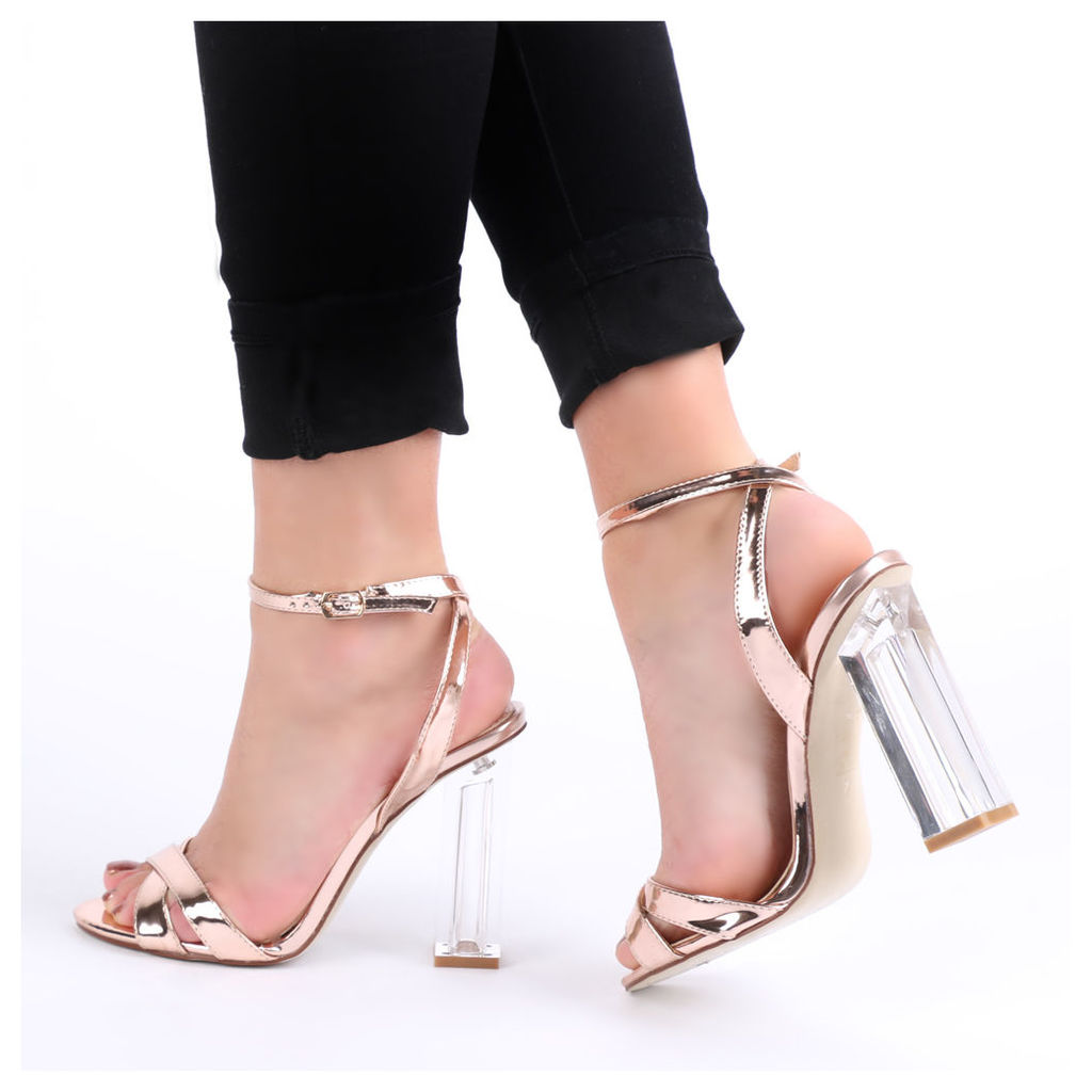 Arielle Perspex Heel Cut Out Sandals in Rose, Gold