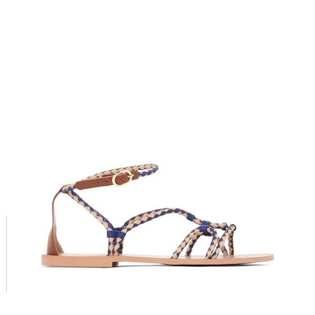 Flat Leather Sandals with Plaited Detail