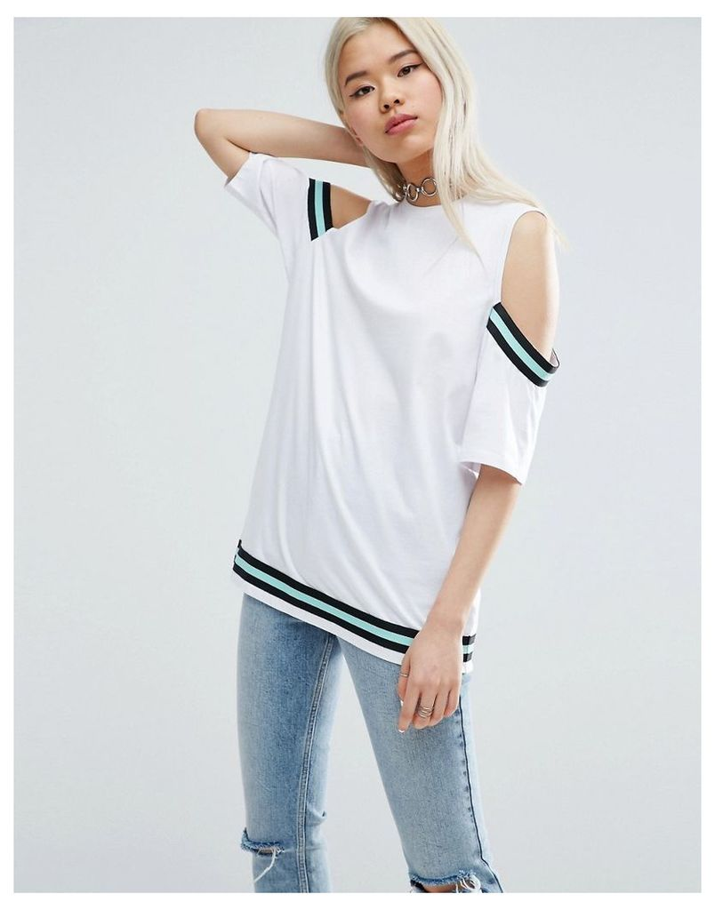 ASOS T-Shirt With Placed Stripe Insert - White