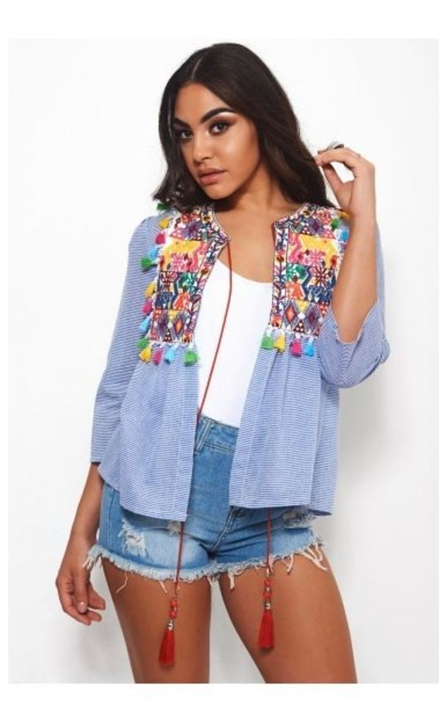 Darcy Blue Embroidered Fringed Jacket