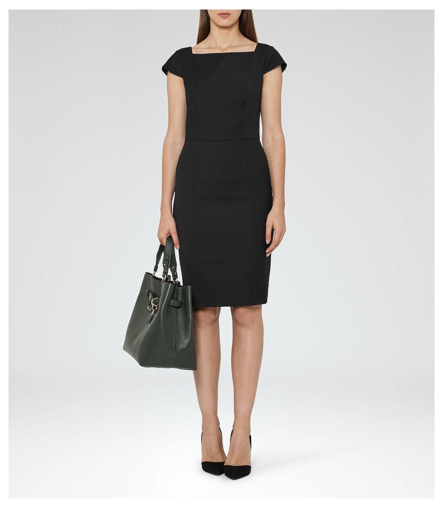 REISS Huxley Dress - Womens Short-sleeved Tailored Dress in Black