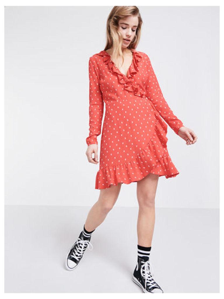 Red Eirana Ditsy Ruffle Wrap Dress
