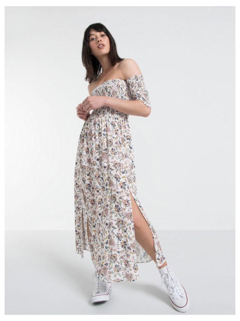 Cream Shirred Bandeau Split Front Midi Dress
