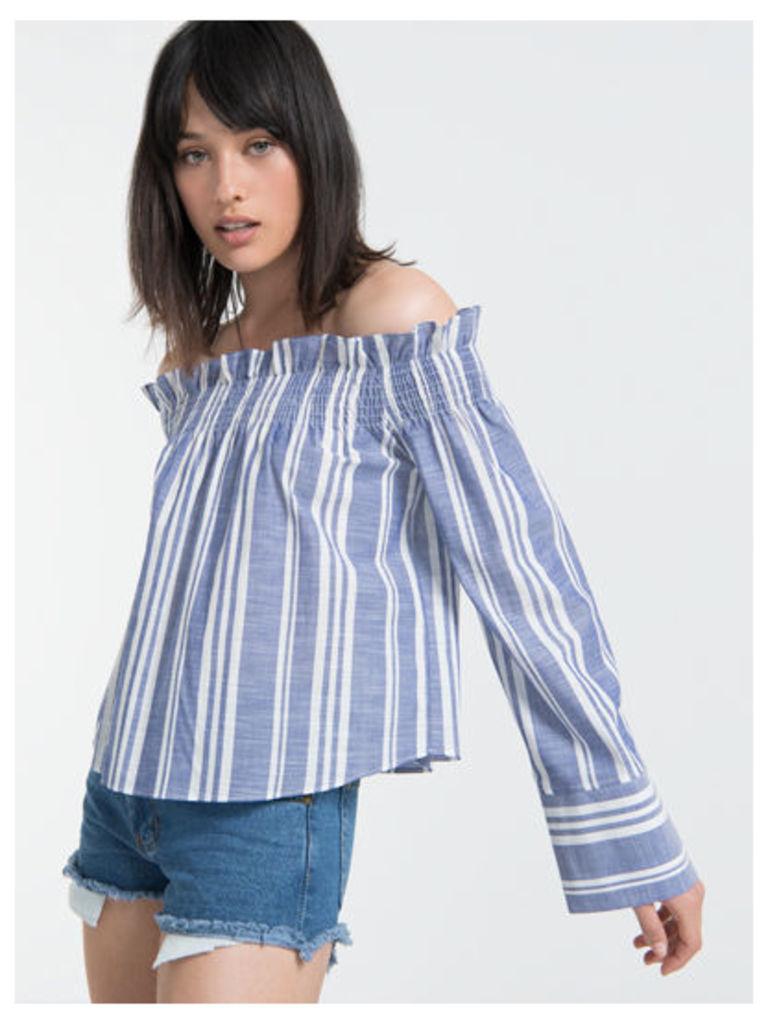 Blue Stripe Paper Bag Bardot Top