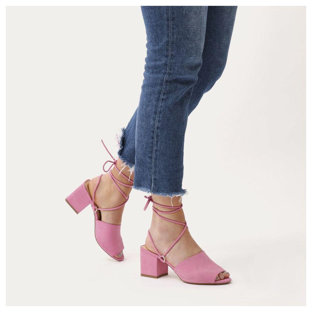 Paddington Lace Up Block Heeled Mules, Pink