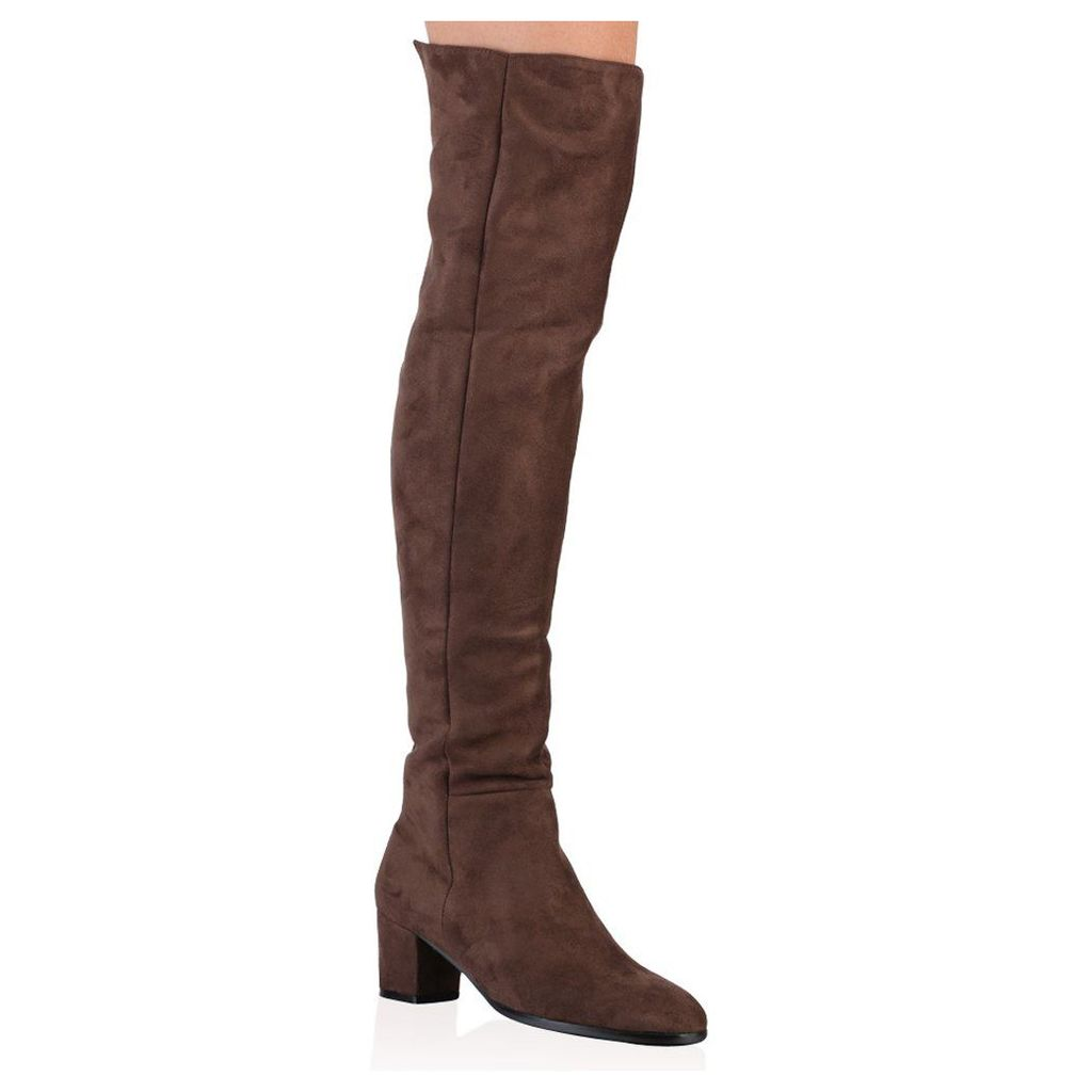 Nancy Over The Knee Boots In Taupe Faux Suede, Brown