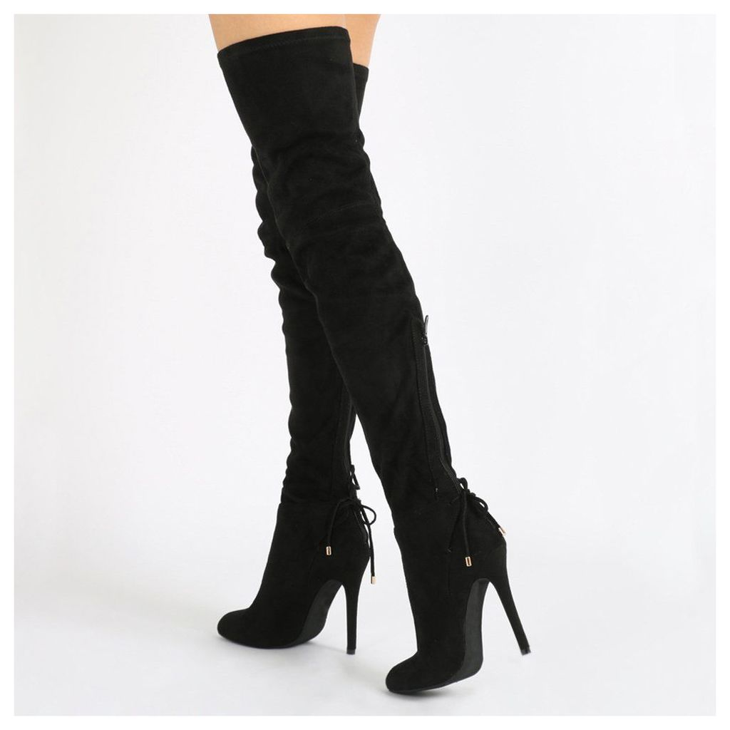 Colette Long Boots  Faux Suede, Black