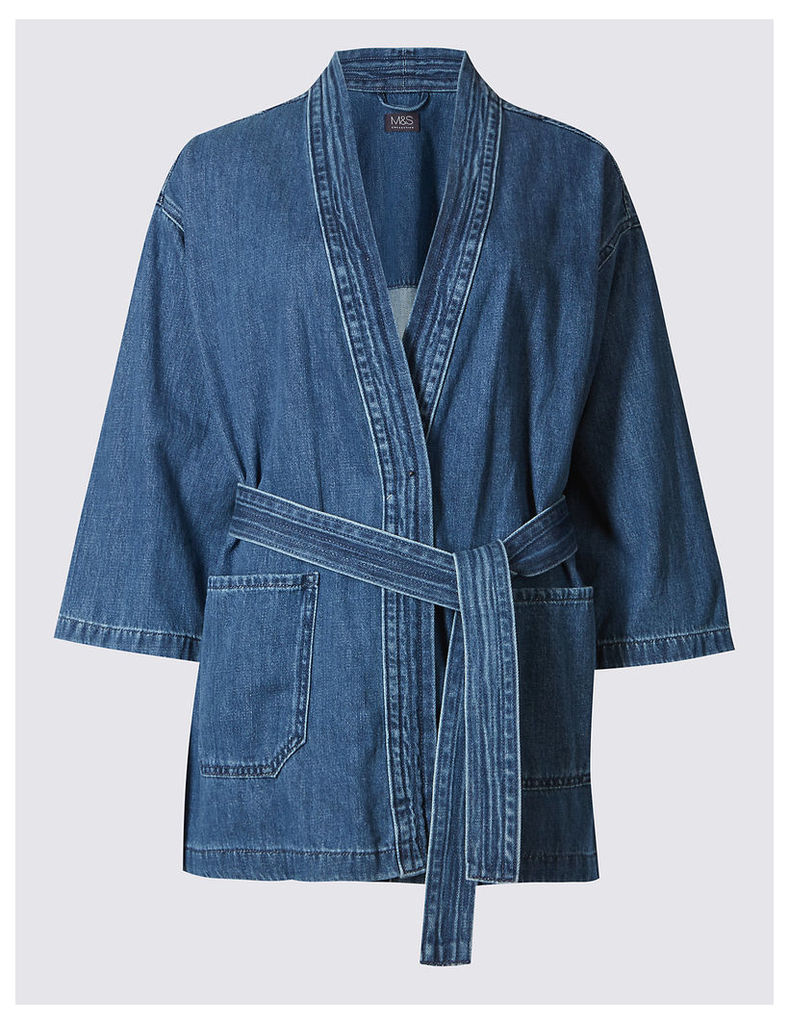 M&S Collection Denim Judo Jacket with Belt