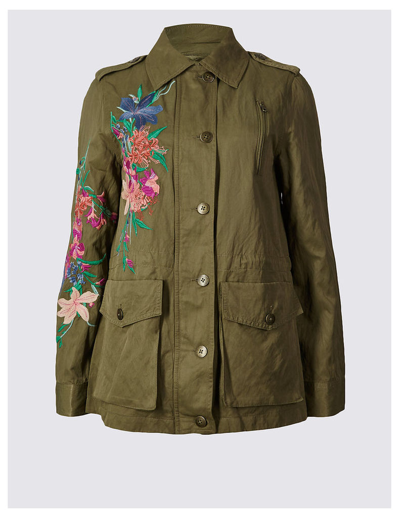 Per Una Cotton Blend Embroidered Jacket