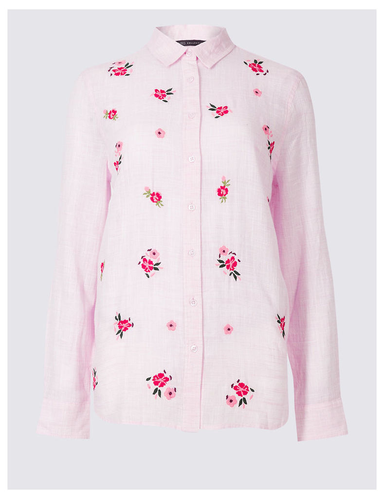 M&S Collection Pure Cotton Ditsy Embroidered Shirt