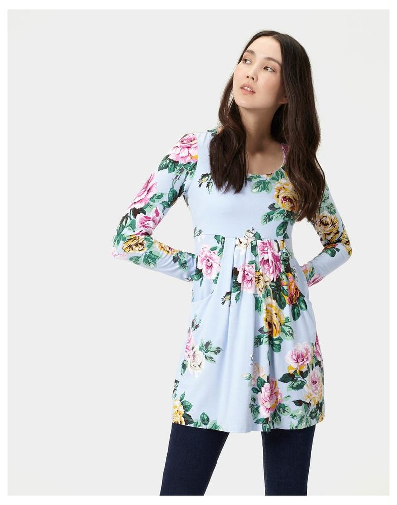 Light Blue Floral 124183 Womens Long sleeve scoop neck tunic  Size 8 | Joules UK