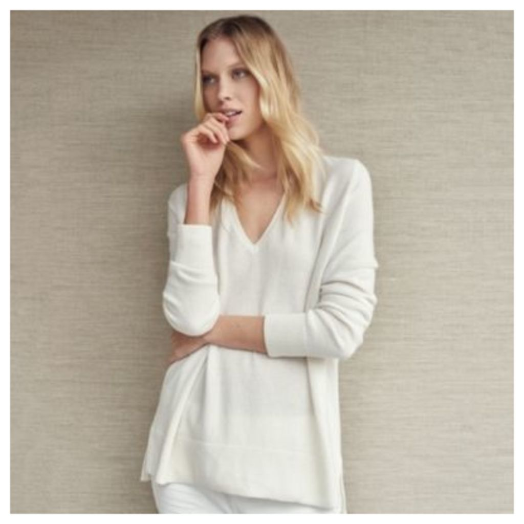 Cashmere Side Split V Neck Jumper