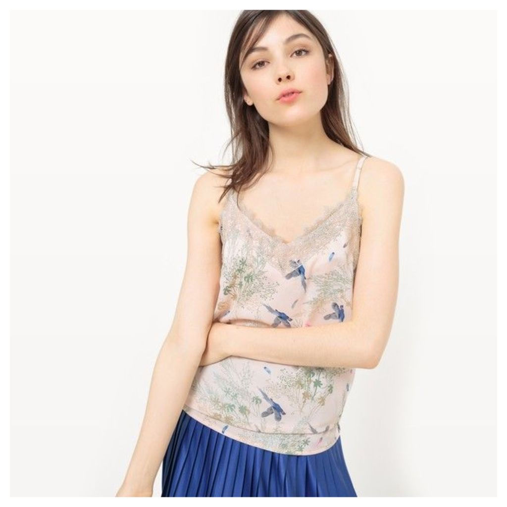 Printed Camisole with Lace Detail