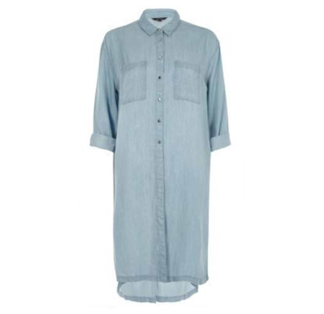 River Island Womens Blue longline denim shirt