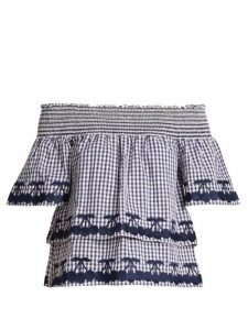 Bliss And Mischief - Off-the-shoulder Gingham Cotton Top - Womens - Blue White