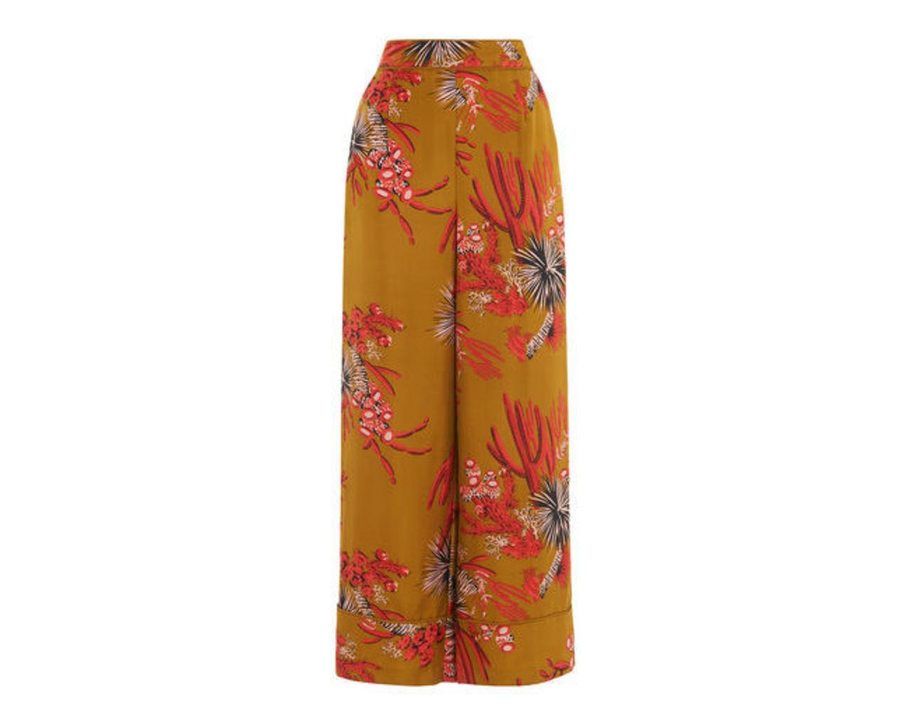 Cactus Print Silk Trouser