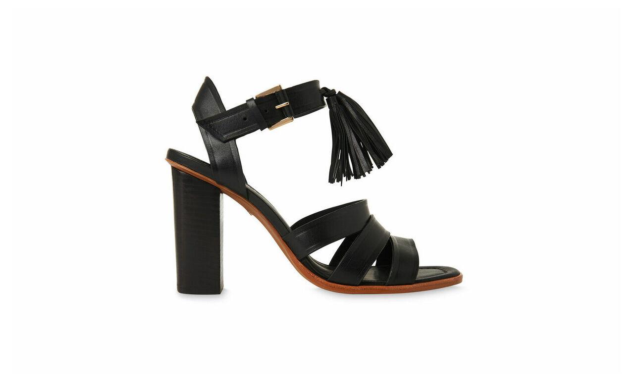 Maida Tassel High Block Sandal