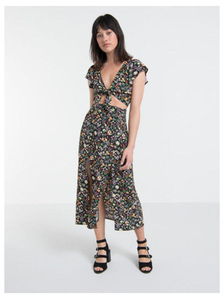 Black Lana Ditsy Floral Split Front Midi Skirt