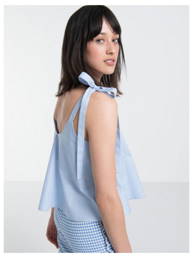 Blue Cotton Poplin Tie Shoulder Cami Top