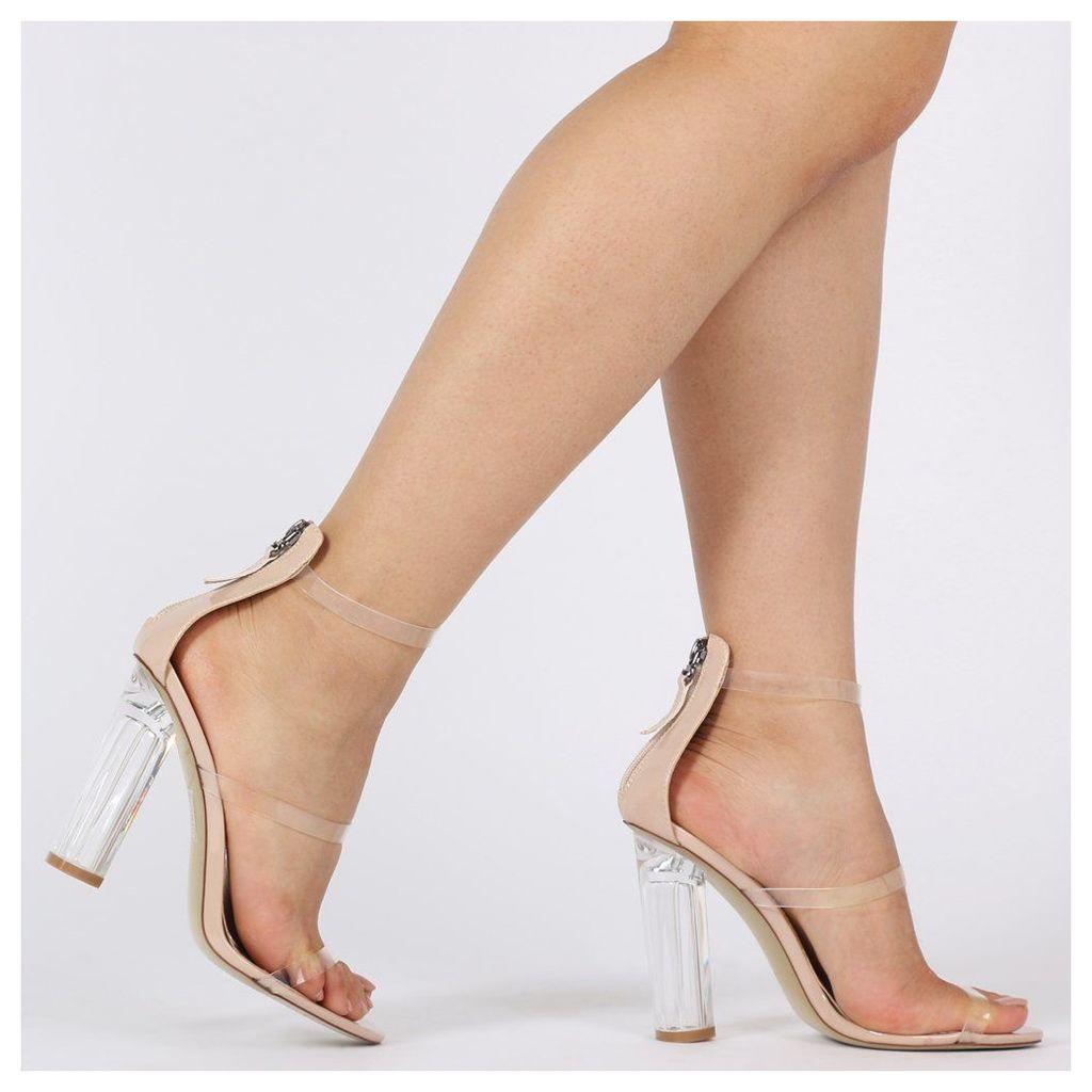 Amari Perspex Strap Heels  Patent, Nude