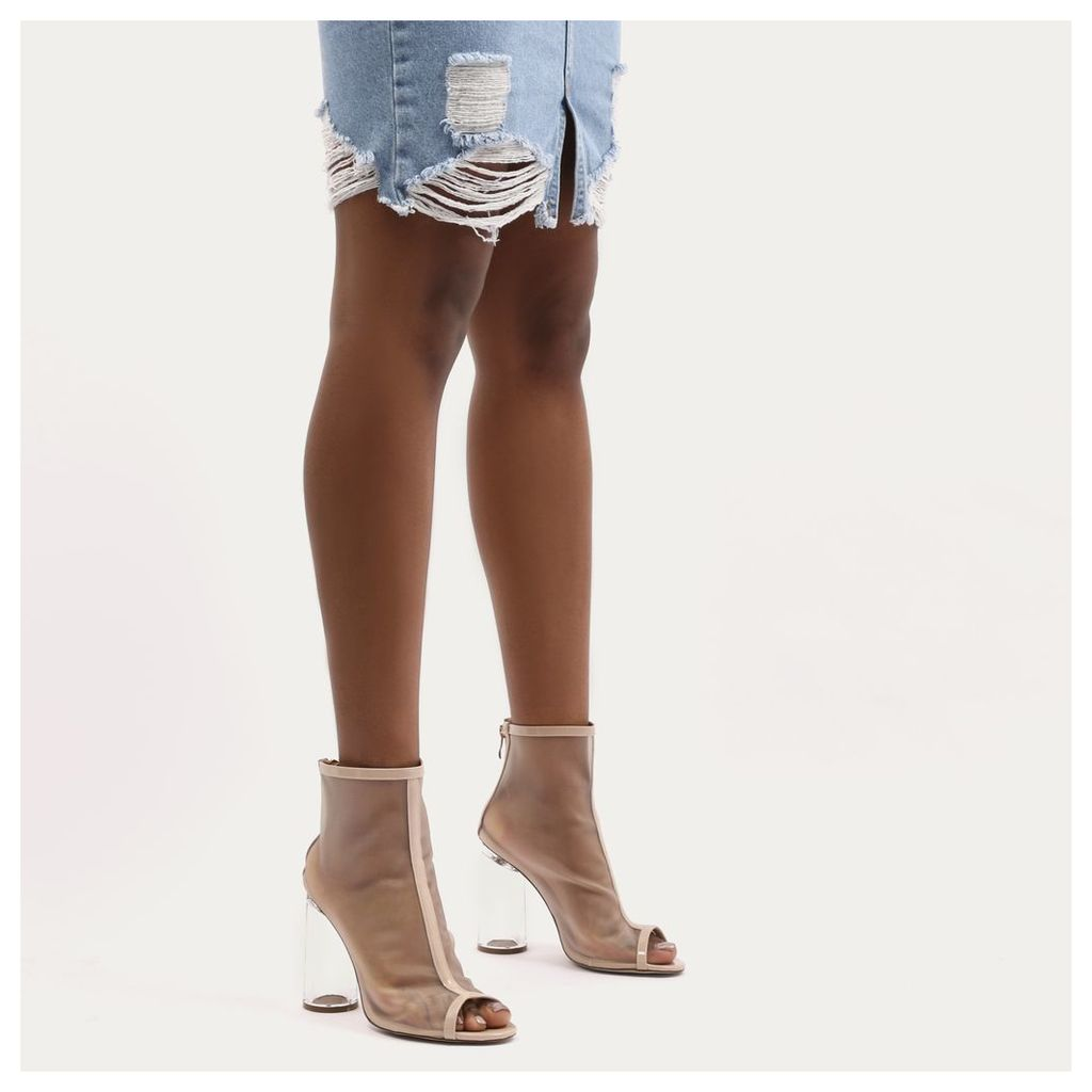 New York Flared Perspex Heeled Mesh Boots, Nude