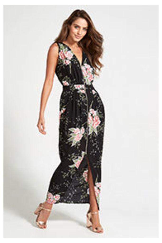 Black Oriental Floral Print Maxi Dress