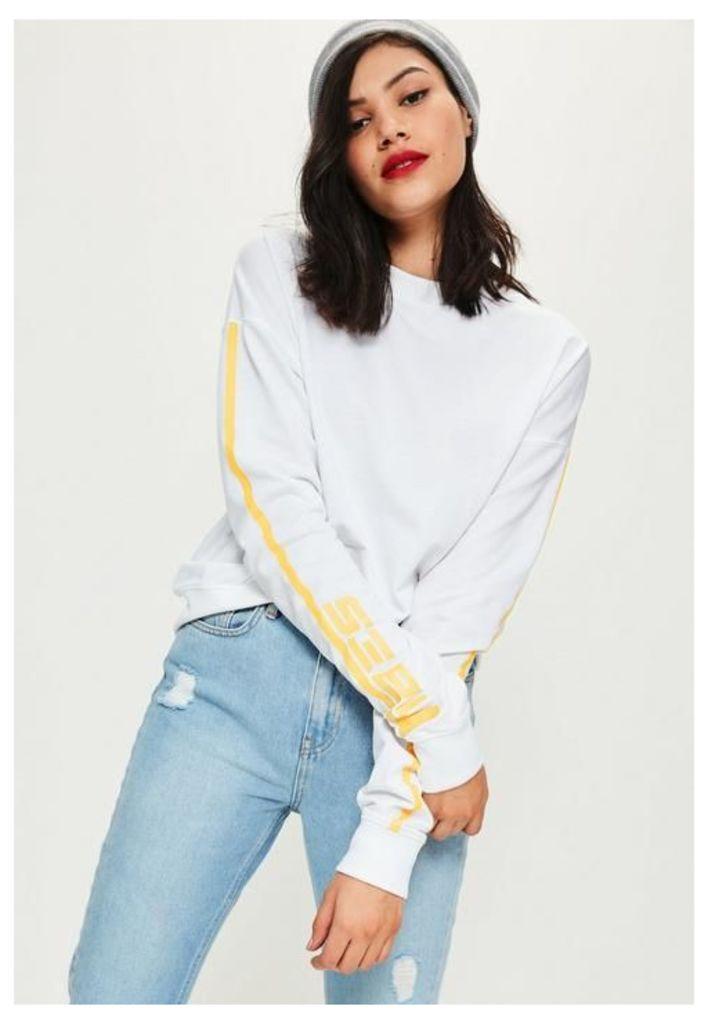 White Vibes Slogan Printed Sweatshirt, White