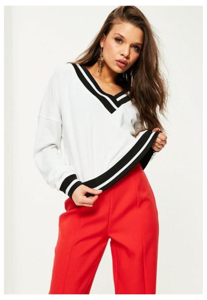 White V Front Monochrome Ribbed Sweatshirt, White