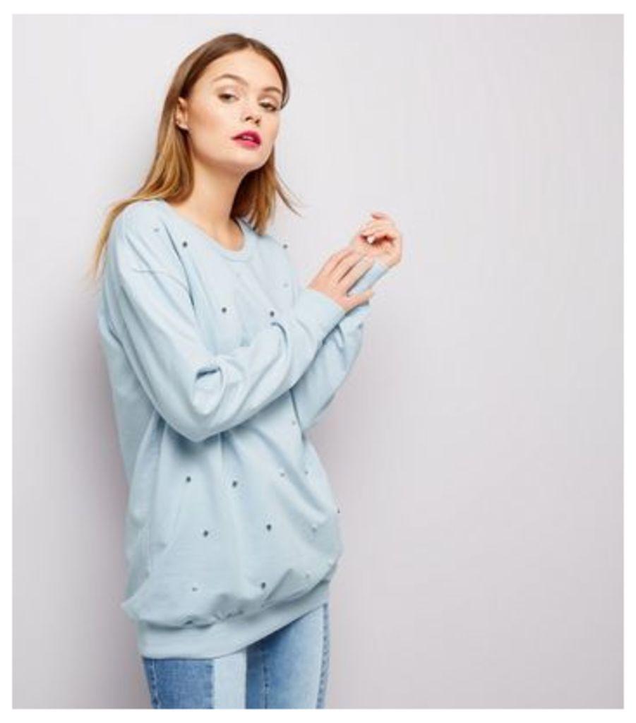Cameo Rose Pale Blue Pearl Trim Sweater