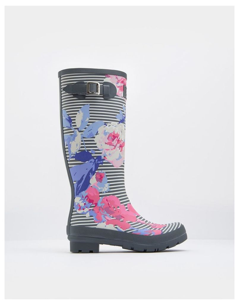 Grey Beau Stripe Printed Wellies  Size Adult 5 | Joules UK