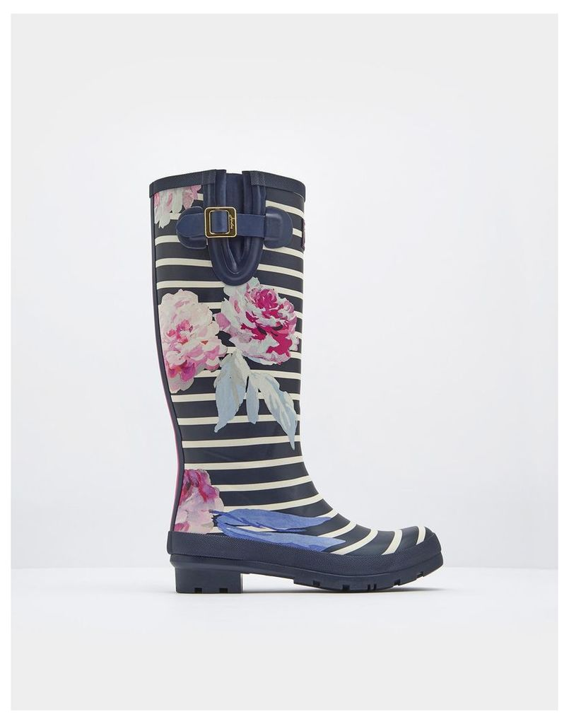 Navy Beau Bloom Stripe Printed Wellies  Size Adult 5 | Joules UK