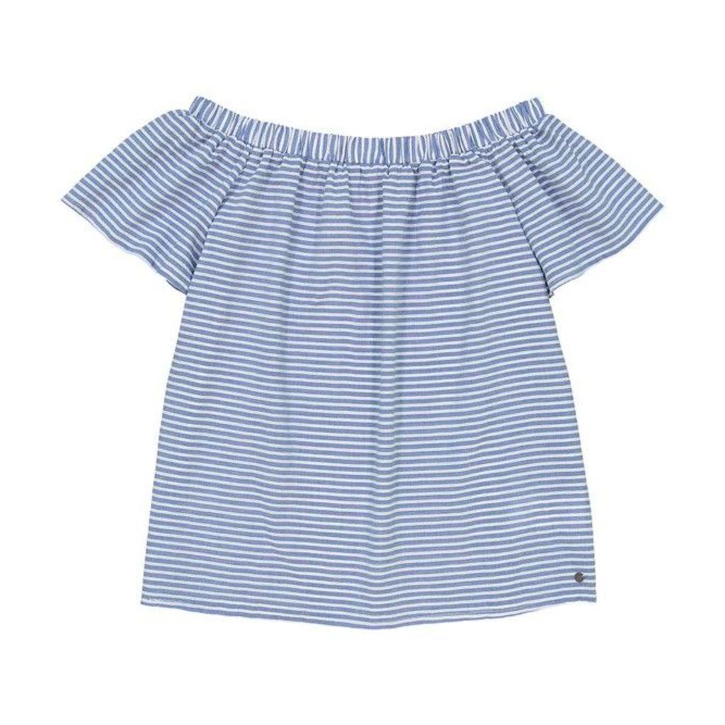 Short-Sleeved Striped Cold Shoulder Blouse