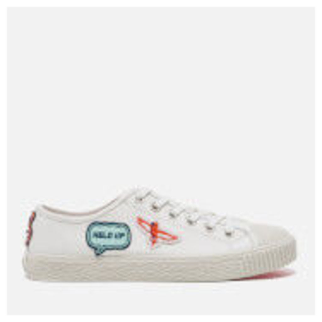 PS by Paul Smith Women's Inna Vulcanised Embroidered Motif Trainers - White Badges Mono Lux