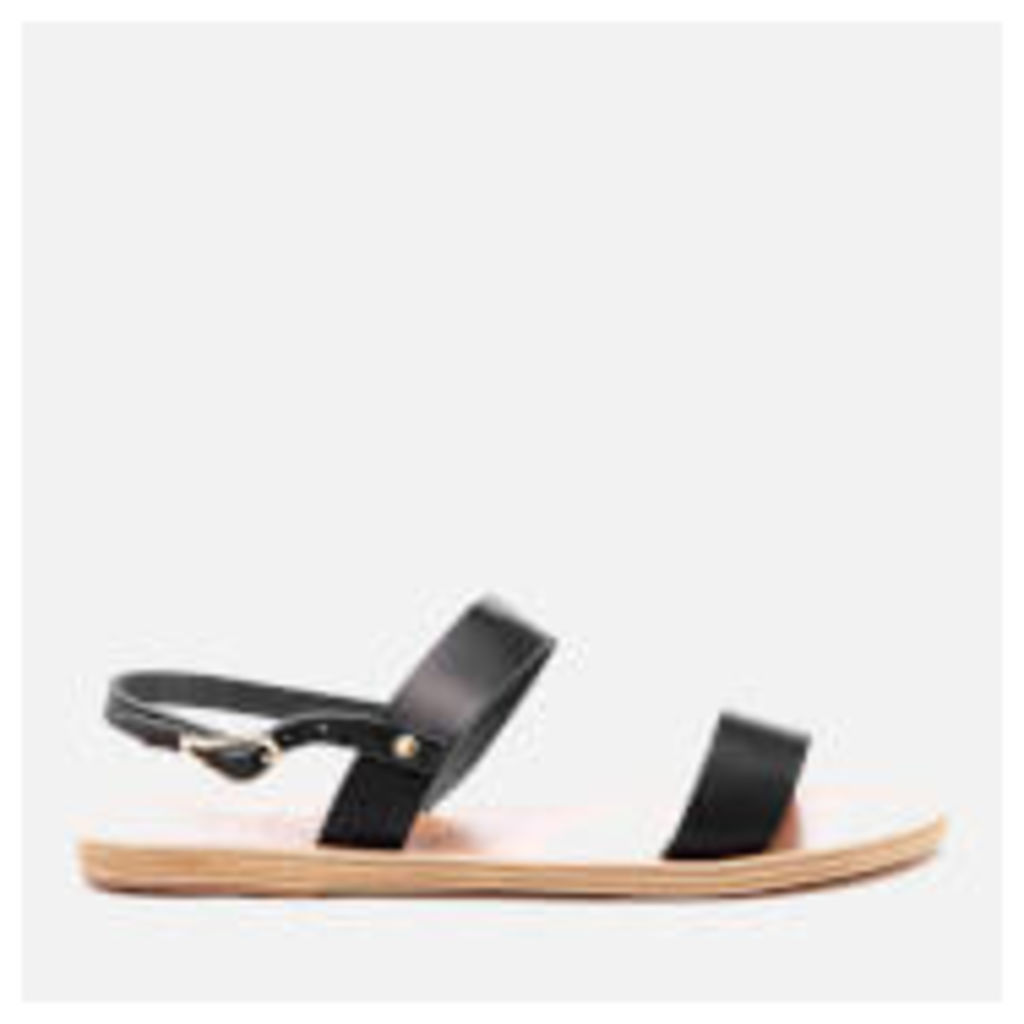 Ancient Greek Sandals Women's Clio Double Strap Vachetta Leather Sandals - Marine - EU 38/UK 5