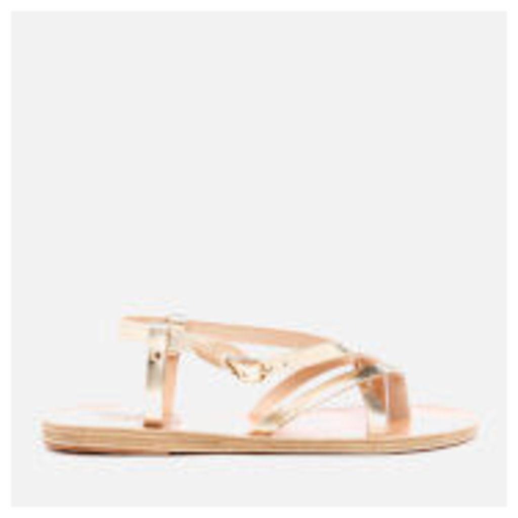 Ancient Greek Sandals Women's Semele Multi Strap Flat Vachetta Leather Sandals - Platinum - EU 38/UK 5
