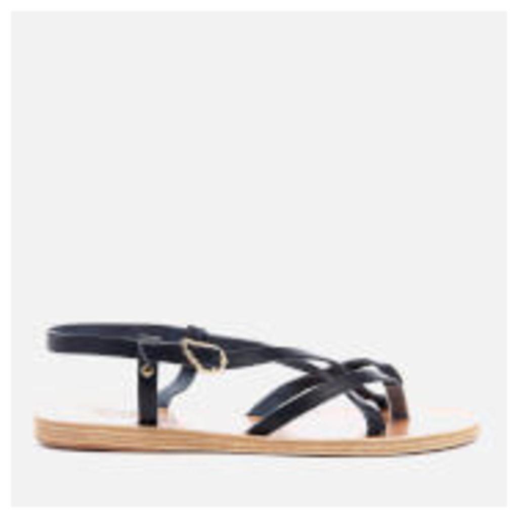 Ancient Greek Sandals Women's Semele Multi Strap Flat Vachetta Leather Sandals - Marine - EU 38/UK 5