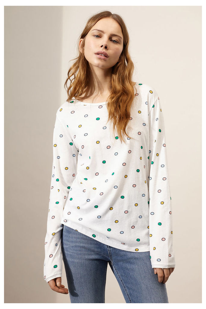 White Long Sleeved Rainbow Dot T-Shirt