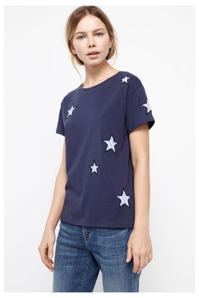 Navy Cotton Applique Star T-Shirt