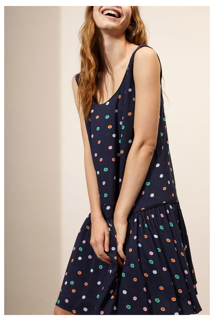 Navy Rainbow Dot Sun Dress