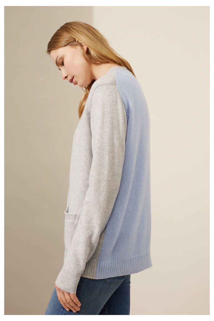 NEW Silver Marl Two Tone Cashmere Cardigan