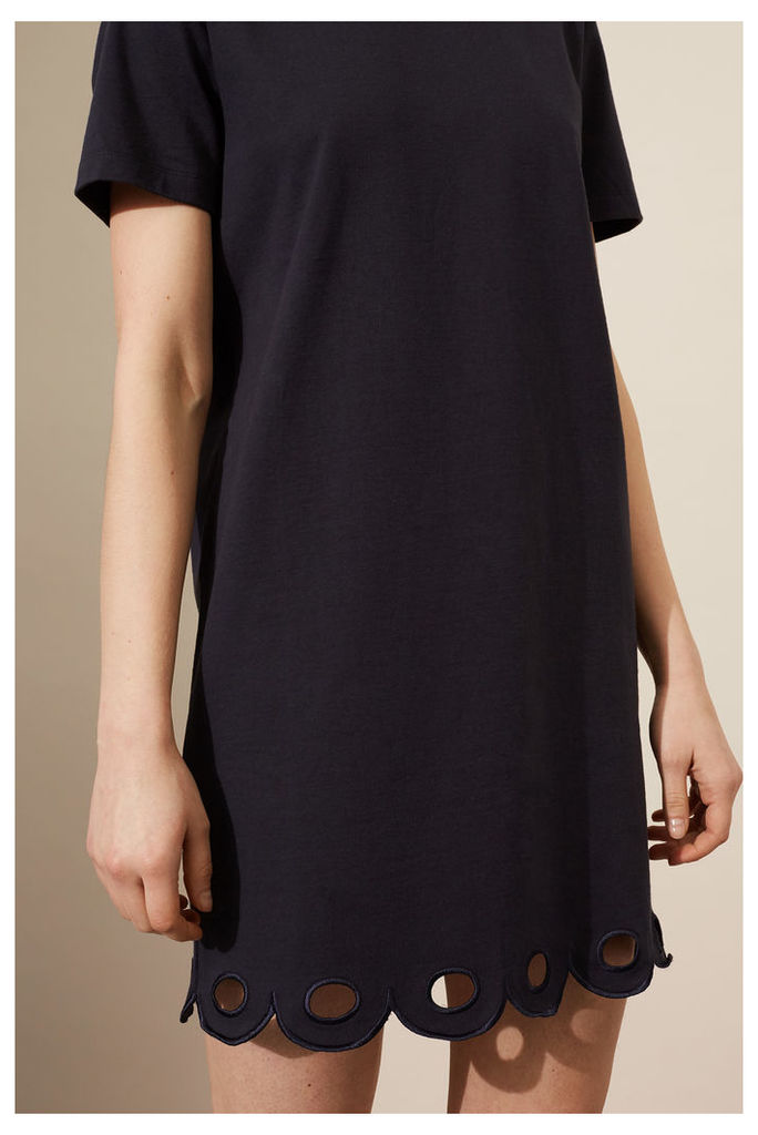 NEW Navy Scalloped Hem Jersey Dress