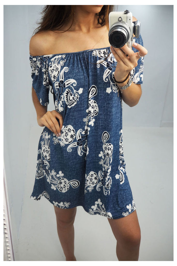 Layton bardot slinky floral denim dress