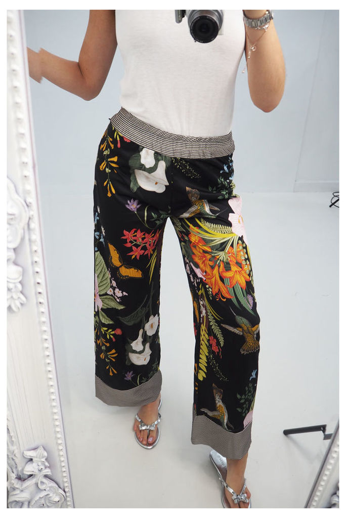 Kizzie printed wide leg trousers
