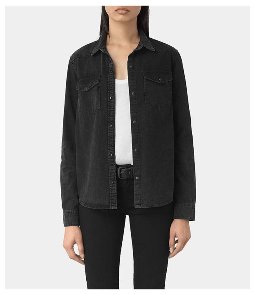Kaia Black Denim Shirt