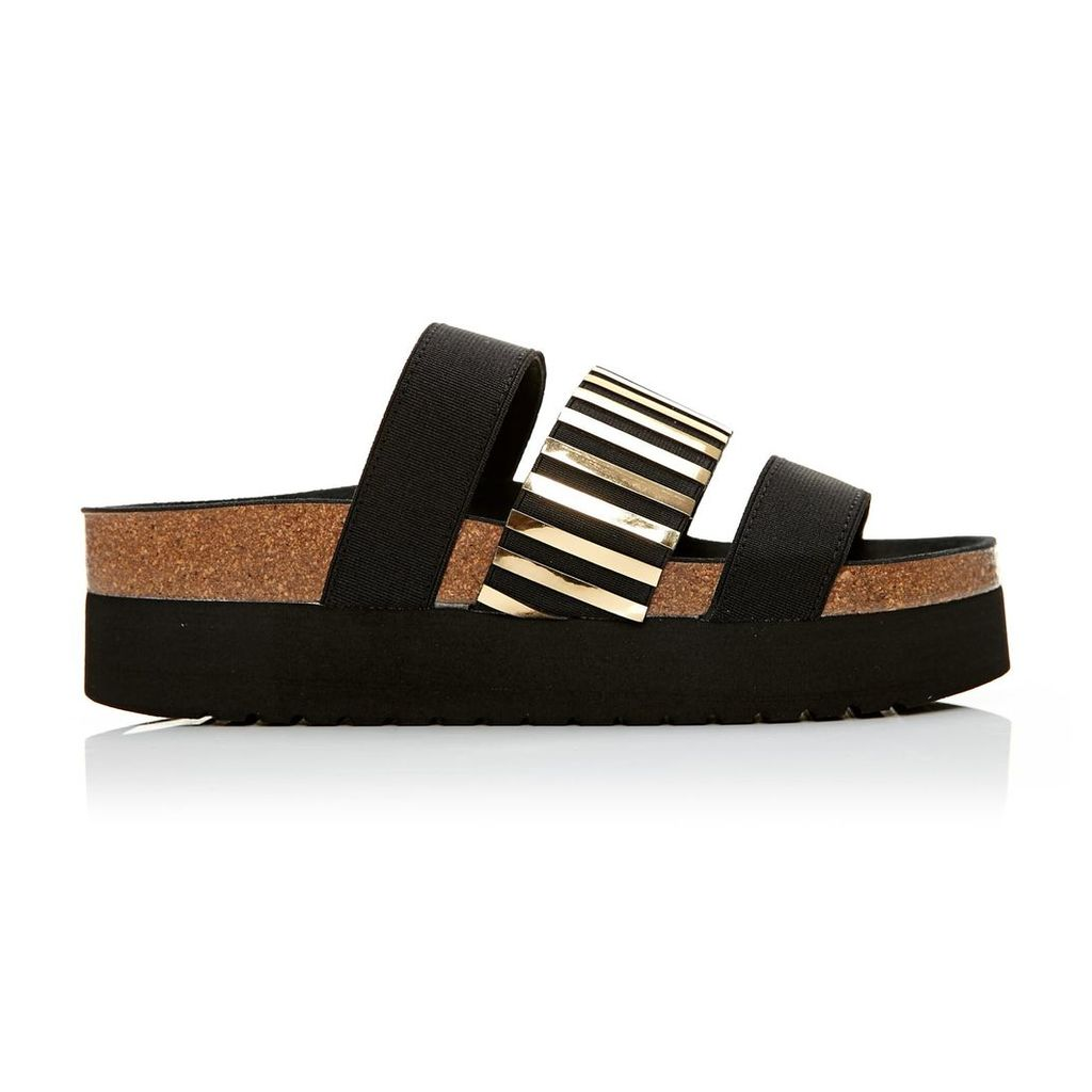 Moda in Pelle Poleeni Black And Gold Metallic Low Casual Sandals