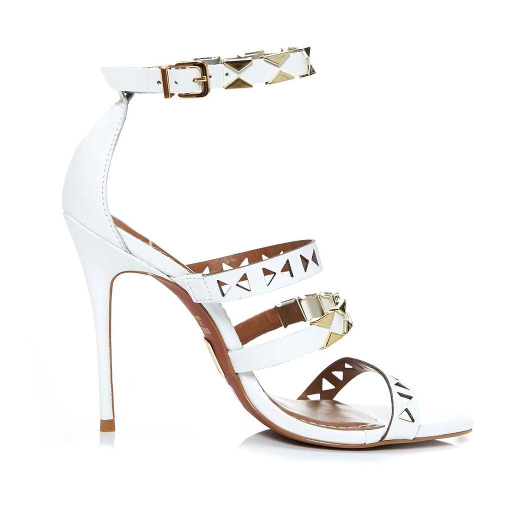 Moda in Pelle Ricci White High Occasion Sandals