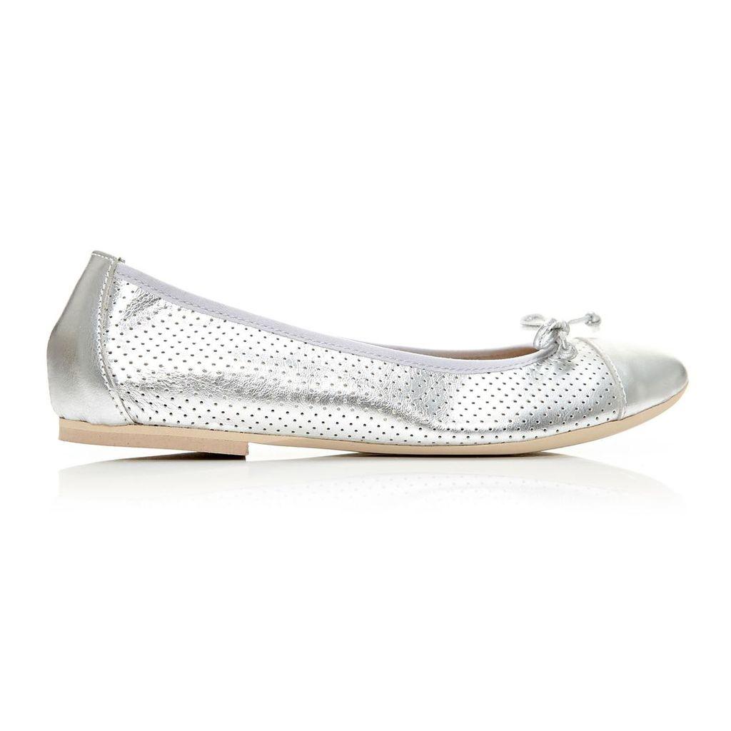 Moda in Pelle Frayza Silver Flat Casual Shoes