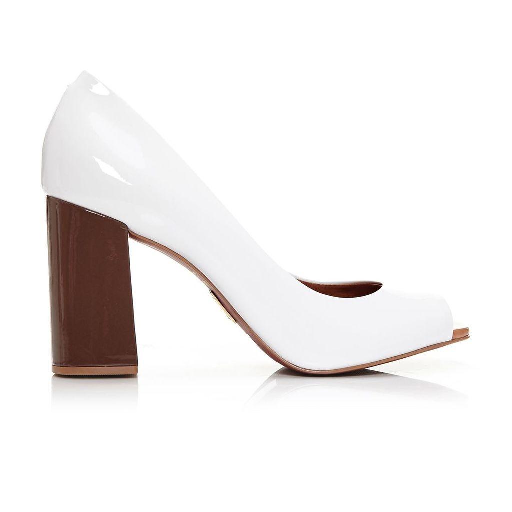 Moda in Pelle Calandre White High Smart Shoes